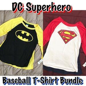 DC Comics Superhero Baseball Tee Bundle NWT NWT